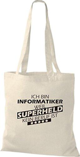 Shirtstown Stoffbeutel Ich bin Informatiker, weil Superheld kein Beruf ist natur
