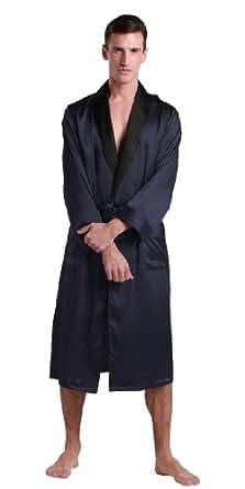lilysilk elegante seide morgenmantel bademantel nachtw sche herren mit schwarzem revers 22 momme. Black Bedroom Furniture Sets. Home Design Ideas