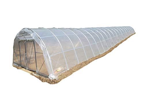 Invernadero de 30 metros de largo, tipo túnel, con doble puerta delantera y trasera, de Mi Invernadero