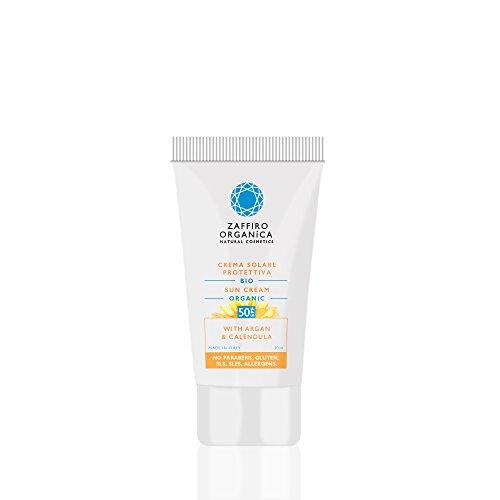 Zaffiro Organica Naturkosmetik – Sonnencreme 50 SPF Hoher Sonnenschutz und Lichtschutzfaktor - Bio Pflanzenwirkstoffe - schützt sofort – vegan – Hyperallergen 1er Pack (1x30 ml)