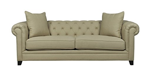 Afydecor Classic Three Seater Sofa with Rolled Arms and Wooden - Off-White