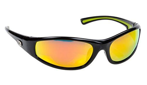 Strike King Plus Kulik Polarisierte Sonnenbrille, Herren, SG-SKP20, Shiny Black Frame/Multi Layer Orange Mirror - Gray Lens (Strike Sonnenbrille King)