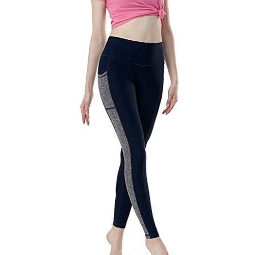 Jogginghose Damen Gym Staresen Yoga Hose Dünne Lange Leggings Damen Bleistifthosen Zeichendruck Damen Yoga Leggins Hose Muster Hüfthose Blumenmuster Lange Hose (Marine, L) (Strumpfhose-video)