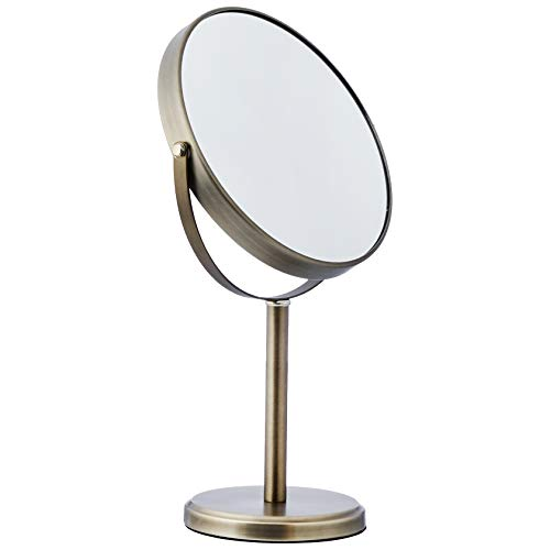 AmazonBasics - Espejo alto de doble cara para lavabo con mueble de baño, Peltre