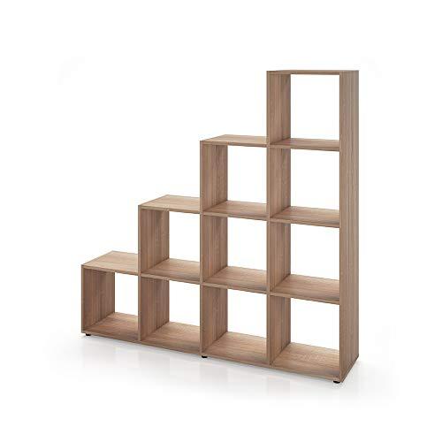 Treppenregal 10 Fächer - Raumteiler Stufenregal Raumtrenner Bücherregal Aktenregal Standregal (Eiche Sonoma)