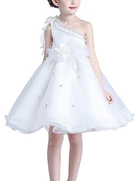 Happy Cherry Blanco Vestido Infantil Tul Traje de Fiesta Tutú de Princesa con Hombro Oblicuo para Niñas Chicas...