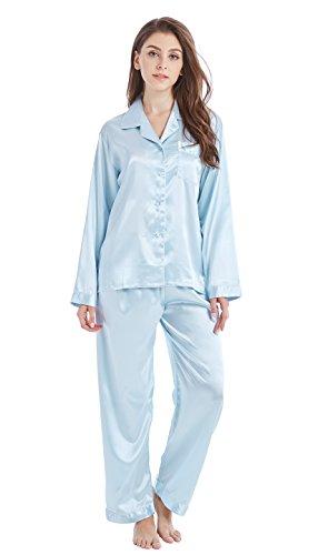 Mädchen-seiden-pyjama (TONY & CANDICE Damen Schlafanzug Klassische Atlas Schlafanzug-Set (L, Hellblau))