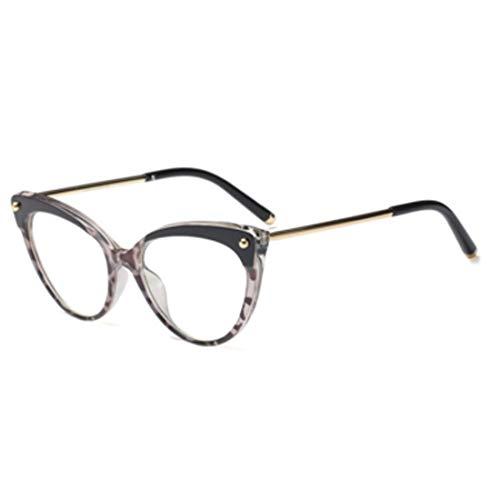 DAIYO Unisex Retro Optische Gläser Einfarbig Bedruckter Kunststoff Metall Runde Vollformat Cat Eye Sonnenbrille