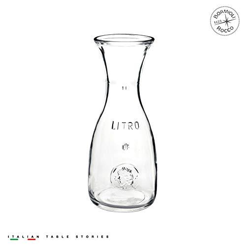 Bormioli Rocco Misura Weinkaraffe, mit Füllstrich bei 1 Liter, Pressring, 1 Stück