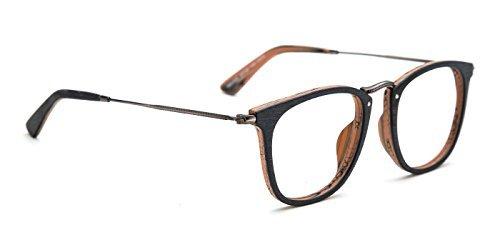 Tijn Holzmaserung Wayfarer Brille Brillen Rahmen aus Holz, - Brillengestelle Rahmenlose