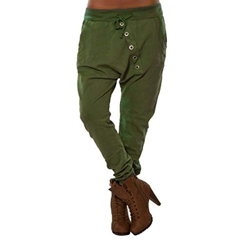 f5c7f9b91e Mymyguoe Mujer Pantaloni Boyfriend en el Punto-Design Baggy Bombacho  Sudadera Yoga Botón Suelto Pantalones