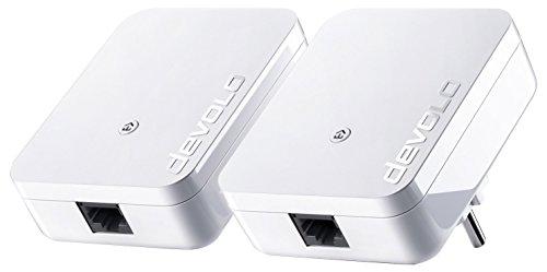 devolo dLAN 1000 Mini Starter Kit (1000Mbit/s per Powerline-Verbindung, Internet über die Steckdose, 1x LAN-Anschluss, 2X PowerLAN-Adapter, PLC Netzwerkadapter, Kompaktgehäuse), weiß