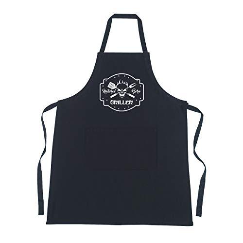 Cookify Natural born Griller nero grembiule divertente forma barbecue regali per gli uomini donne e ragazzi Black Adulto L