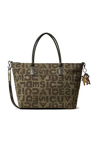 Desigual Damen Bag Brand Holbox Schultertasche, Grün (Kaki), 30.5x17x37 cm