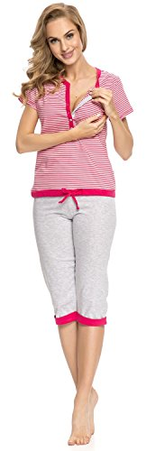 dn nightwear Damen Schlafanzug für Schwangere PM.9000 Rosa