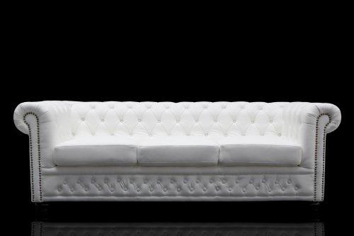 Casa Padrino Chesterfield 3er Sofa Weiss – Wohnzimmer Couch Möbel