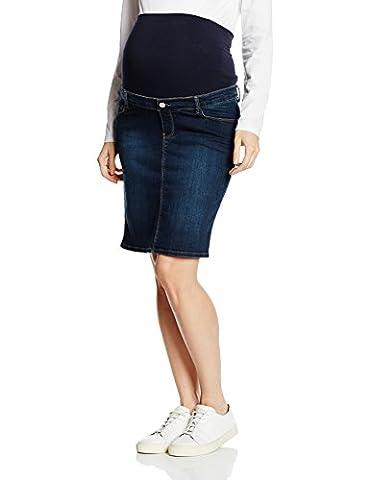 ESPRIT Maternity Damen Umstands Rock Skirt denim OTB mid M84220, Knielang, Gr. 42, Blau (blue (darkwash 910) 910)