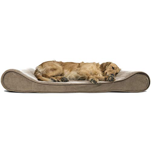 Furhaven Pet Dog Bed | Memory Foam Microvelvet Luxe Lounger Pet Bed for Dogs & Cats, Clay, Jumbo