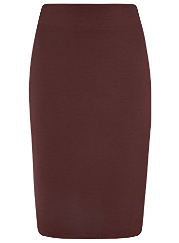 oodji Collection Damen Jersey-Rock mit Schlitz, Rot, DE 40/EU 42/L (Jersey-bleistift-rock)