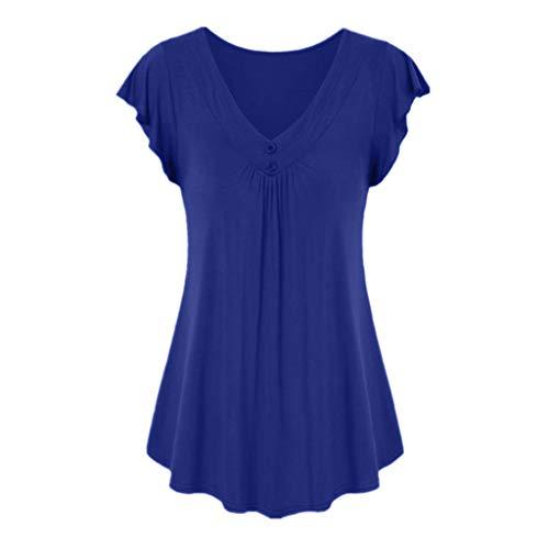 LOPILY Sommer T-Shirt Kurzarmshirt Damen Elegante Übergröße Kurzarm Gekräuselte Geraffte Shirts Blusen Tops Sommer Lässige Unregelmäßiger Saum Falten Bluse Oberteil(Dunkelblau,3XL)