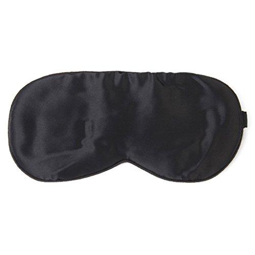 Nero Mano Di Seta Pura Occhio Lavabile Benda Maschera Per Gli Occhi Con Cinturino Testa (Mano Regolabile Strap)