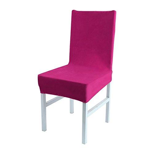 ZCHXD Stretch Spandex Short Dining Room Chair Covers Velvet Slipcovers Multi-Color Chair Seat Covers Fuchsia Fuchsia Velvet