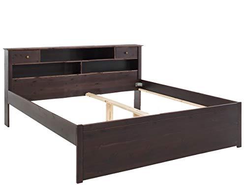 Loft24 A/S Bett 180x200 cm Bettgestell Kiefer massiv Bettrahmen mit Regal Doppelbett Landhausstil Schlafzimmer Dunkelbraun -