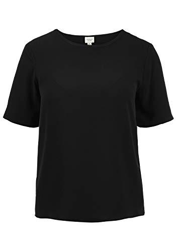 ONLY Crystal Blusenshirt Bluse Kurzarm Mit Rundhalsausschnitt Und Verschiedenen Prints Loose Fit, Größe:34, Farbe:Black - Damen Schwarz Nadelstreifen
