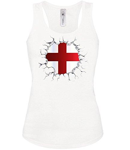 England Fan t Shirt Artikel 5995 Fuss Ball Tank Top für Mädchen EM 2020 WM 2022 Trikot Look Flagge Fahne Team Frauen Damen Mädchen Girly World Cup M