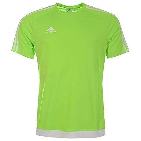 Adidas Estro T Shirt à manches courtes 3bandes pour homme Débardeur Système Climalite Large Solar Green