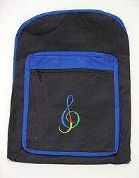 Kinder Zwei Tone Rucksack schwarz/blau-G Notenschlüssel Design -