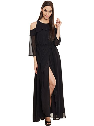 Femella Women's Black Cold Shoulder Maxi Dress (DS-1984938-1160-BLK-S )  available at amazon for Rs.775