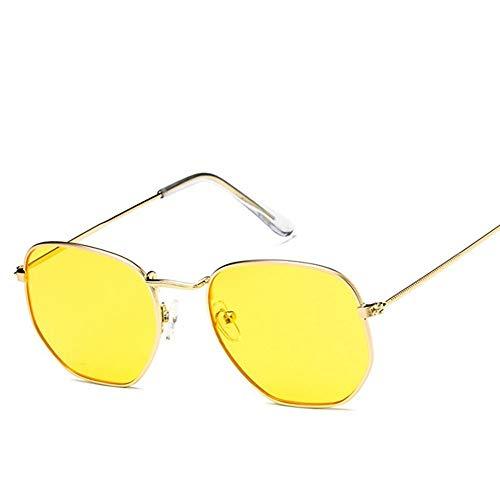 QDE Sonnenbrillen Sonnenbrillen Mit Kleinem Rahmen Polygonal Transparente Linsen Sonnenbrillen Retro Sonnenbrillen Für Männer Und Frauen Hex Metal Frame, K