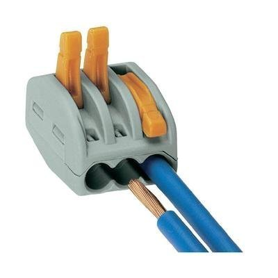 Preisvergleich Produktbild Verbindungsklemme - Serie 222 WAGO Querschnitt Feindrähtig 0.08 - 4 mm², eindrahtig - 2.5 mm² 32 A Grau, Orange 50 St.