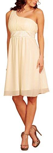 My Evening Dress- Robe de Cocktail et de Soirée à Une Epaule Pailletée Crème - Crème