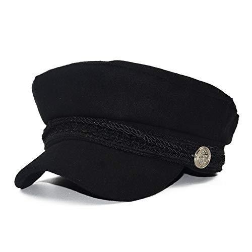 SMARTRICH Elegante Gorra de Vendedor de periódicos para Mujer, Visera de Lana combinada, Gorra de Invierno 56-58 CM