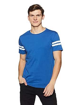 People Men's Striped Regular Fit T-Shirt (P1C109518LEP213_Blue_Small)