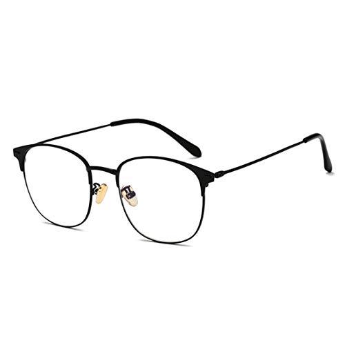 Mkulxina Anti-Blaue Lichtbrille großen Rahmen Metall Männer und Frauen Brille Nicht verschreibungspflichtige Brille (Color : Black)