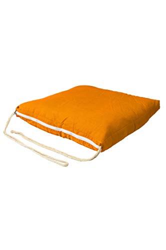 Sitzkissen Stuhlkissen mit Schleife 45cm Groß Eckig Orange | Outdoor im Garten als Stuhlauflage...