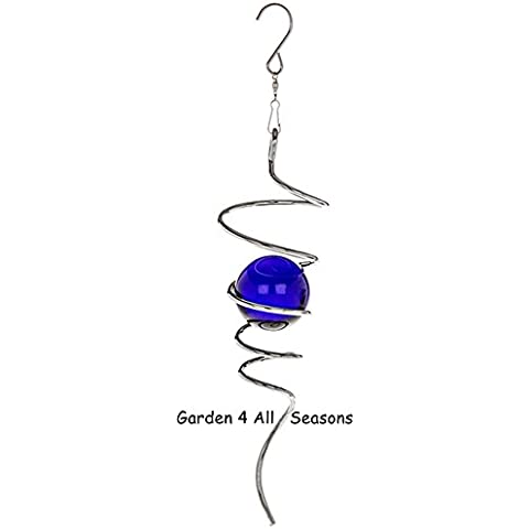 Plata azul 25cm espiral de acero inoxidable cola Twister viento adorno de jardín/Interior accesorio