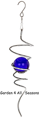 Argento blu 25cm in acciaio INOX a spirale Twister girandola a vento da giardino/indoor ornamento di confezione regalo