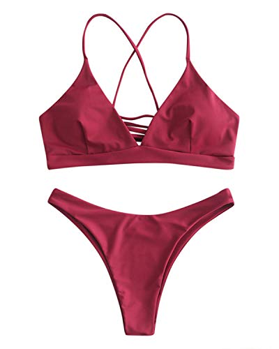 ZAFUL Bikini Set mit Criss Cross Lace-up hinten überqueren Swimsuit Swimwear Bademode Tanga Badeanzug Bikinis-Set Large Weinrot