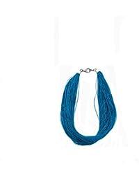 MARY JANE - Collier fantaisie Femme - Longueur 53cm - Métal argenté-Polyester (Multirangs / Turquoise)