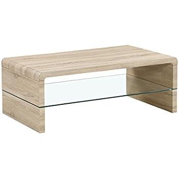 CAVADORE Couchtisch FRED/moderner, niedriger Tisch mit Glaseinsatz ...