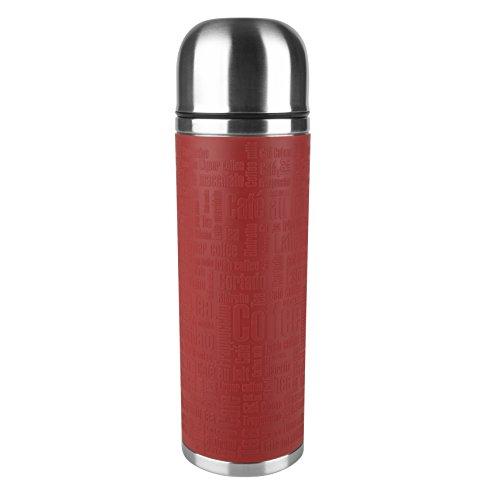 emsa edelstahl thermoskanne Emsa 515715 Senator Manschette Isolierflasche, Mobil genießen, 1 l, Safe Loc Verschluss, rot