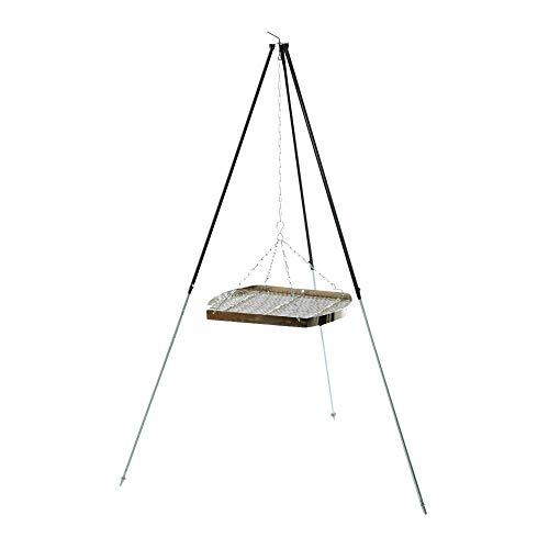 acerto 31181 Ungarischer Grillrost (50cm) mit Dreibein (180cm) & Kette * Verchromt * Mit Außenring * Besonders robust Grillgitter zum Aufhängen am Dreibein Gitterrost, Grillauflage für