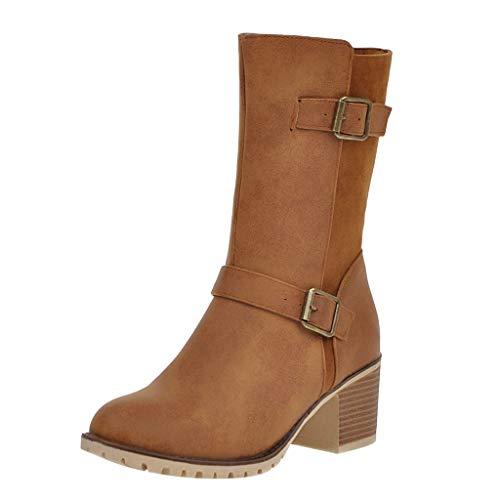 TIFIY Damen Winter Stiefel 2019 Damen Stiefeletten mit quadratischem Absatz und Slip-On-Beiläufigen Mittelrohrstiefeln Warm Stylisch Ausgehen Wild Jeden Tag Schuhe(Khaki,39