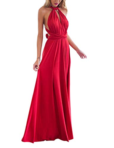 Lover-Beauty Kleider Damen V-Ausschnitt Rückenfrei Neckholder Abendkleider Elegant Cocktailkleid Multi-Way Maxikleid Lang Chiffon Party Kleid, Rot, (EU 38-40)L Sexy Abendkleid
