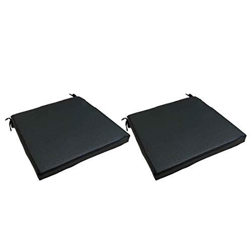 Lot de 2 Coussins de siège textilene Couleur Noir pour chaises et fauteuils de Jardin   Dimensions: 44x44x5 cm   Tissu antitâches   Déhoussable   Livraison Gratuite