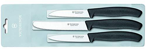 Victorinox Swiss Classic Gemüsemesser-Set, 3-tlg., 2 x Gemüsemesser Wellenschliff, 1 x Gemüsemesser Gerader Schliff -